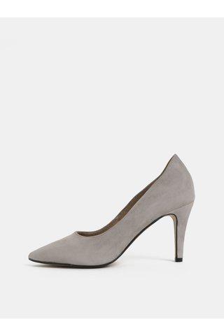 Pantofi gri din piele intoarsa Tamaris