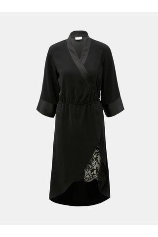 Černé překládané šaty s krajkou VILA Milena