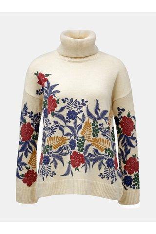 Helanca crem oversize cu motiv floral M&Co