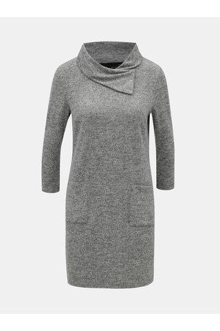 Šedé žíhané svetrové šaty s rolákem a 3/4 rukávem M&Co