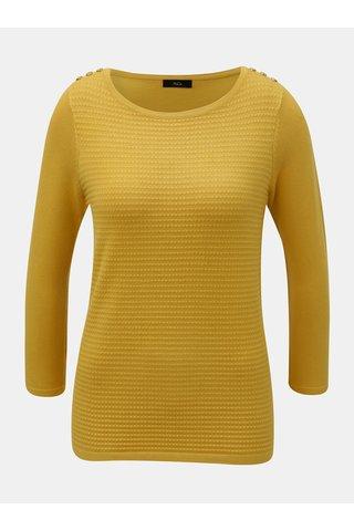 Hořčicový lehký svetr s plastickým vzorem M&Co