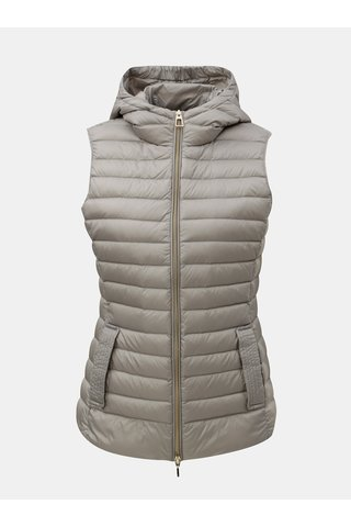 Šedá dámská prošívaná lehká péřová vesta s kapucí Geox