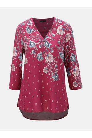 Tmavě růžová květovaná halenka s 3/4 rukávem M&Co