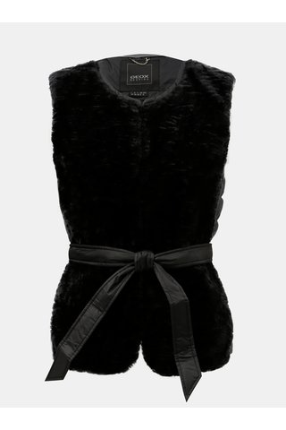 Vesta de dama neagra lejera matlasata de puf cu blana artificiala Geox