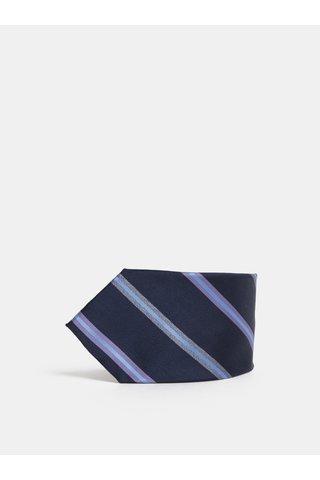 Cravata albastru inchis din matase cu model Dice