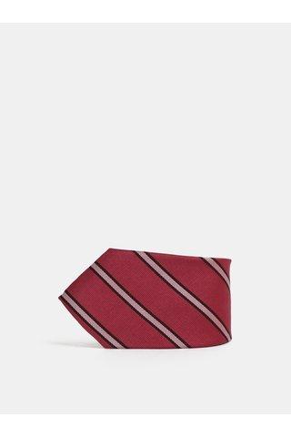 Cravata roz-bordo din matase cu model Dice