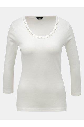 Tricou alb cu decolteu rotund si detalii M&Co