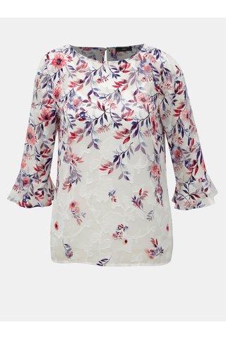 Bluza roz-alb florala cu maneci 3/4 M&Co