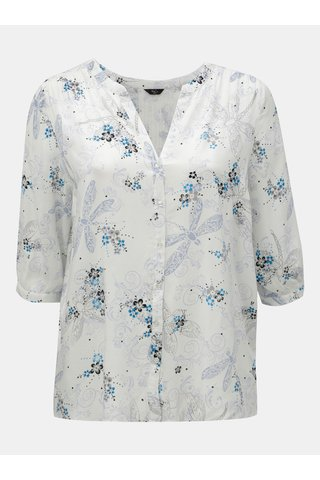 Bluza alba florala cu maneci 3/4 M&Co Plus