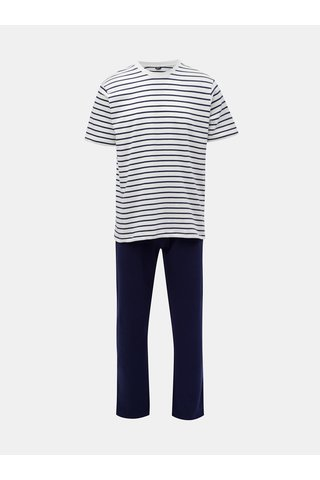Bílo-modré pánské pruhované dvoudílné pyžamo M&Co