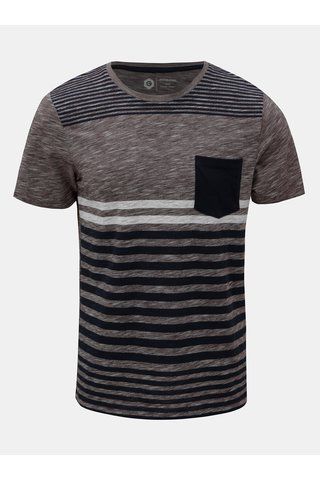 Tricou albastru-bordo in dungi slim fit Jack & Jones True