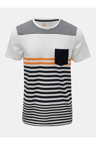 Tricou albastru-alb in dungi slim fit Jack & Jones True