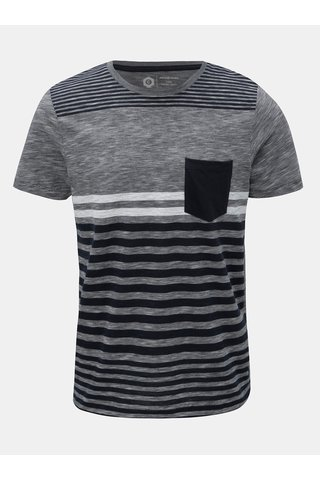 Tricou albastru-gri in dungi slim fit Jack & Jones True