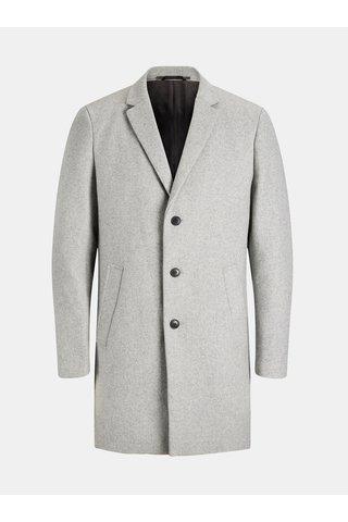 Šedý žíhaný propínací kabát s příměsí vlny kabát Jack & Jones Morten