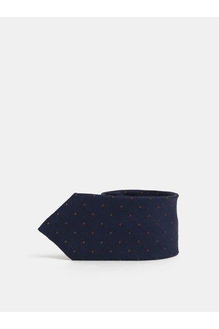 Cravata albastru inchis cu buline din matase Jack & Jones Johan