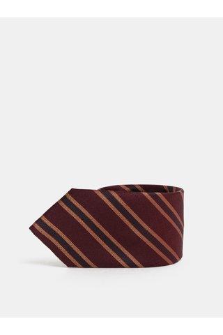 Vínová pruhovaná hedvábná kravata Jack & Jones Johan
