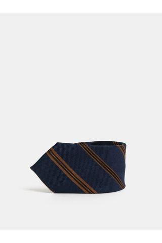 Tmavě modrá pruhovaná hedvábná kravata Jack & Jones Johan