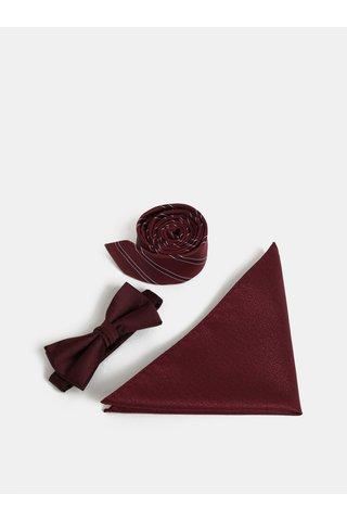 Dárková sada kravaty, motýlka a kapesníčku ve vínové barvě Jack & Jones Necktie