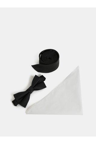 Set de cravata, jazzbow si batista negru si alb Jack & Jones Necktie