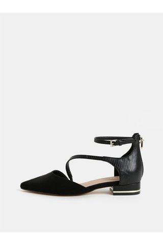 Sandale negre din piele sintetica cu varf cu aspect de piele intoarsa ALDO Acemma