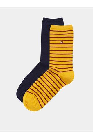 Sada dvou páru dámských ponožek v hořčicové a modré barvě s pruhovaným vzorem Tommy Hilfiger
