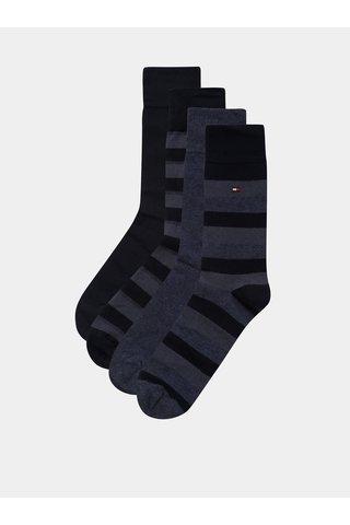 Sada čtyř párů pánských ponožek v tmavě modré barvě v dárkovém balení Tommy Hilfiger