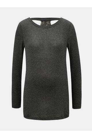 Tricou gri inchis pentru femei insarcinate cu detaliu din dantela Mama.licious Selia