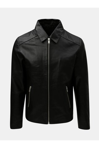Jacheta neagra din piele Selected Homme Clean