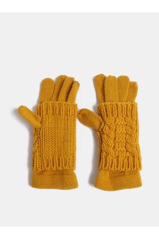 Manusi mustar cu cu tricotaje mormane detasabile 2in1 ONLY Thona