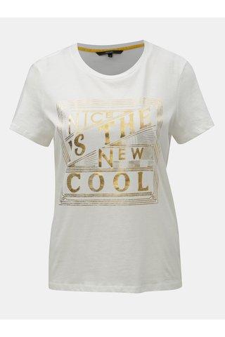Bílé tričko s potiskem ve zlaté barvě VERO MODA Fancy