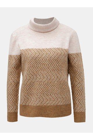 Hnědo-růžový vzorovaný svetr ONLY
