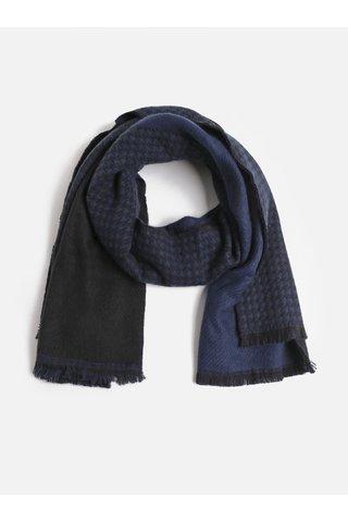 Fular negru-albastru cu model Pieces Kit