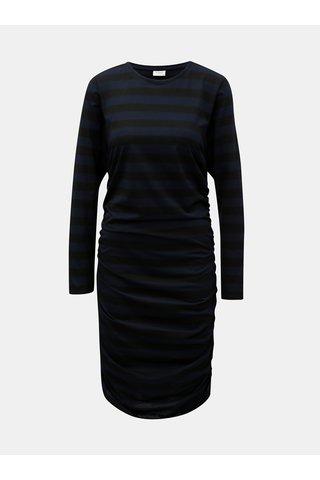 Černo-modré pruhované šaty s řasením na bocích Jacqueline de Yong