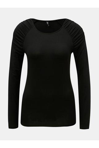 Černé tričko s řasením na ramenou ONLY
