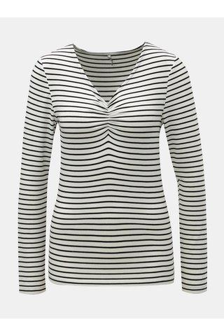 Černo-bílé pruhované tričko s řasením v dekoltu ONLY