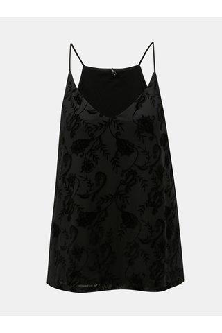 Bluza neagra din plasa cu detalii din piele intoarsa ONLY Carol