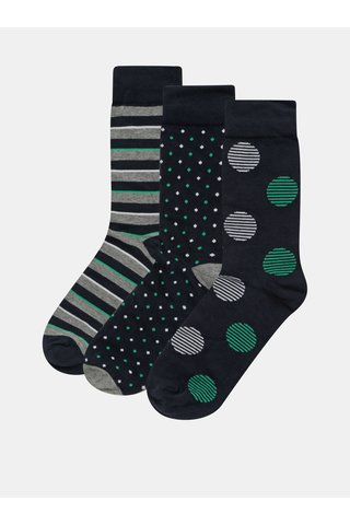 Sada tří párů vzorovaných ponožek v modré a zelené barvě v dárkovém balení Jack & Jones Dots