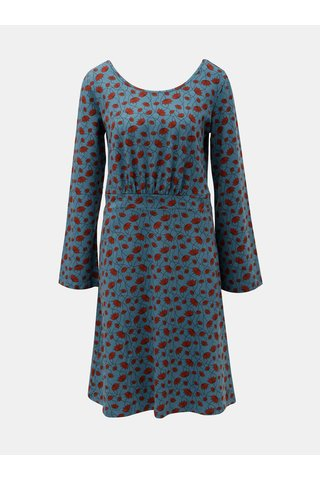 Rochie negru-albastru florala cu decolteu la spate Tranquillo Klio