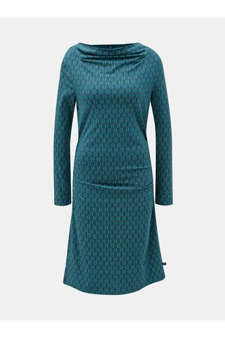 Rochie verde inchis cu motiv frunze si pliuri la decolteu si laterale Tranquillo Durga