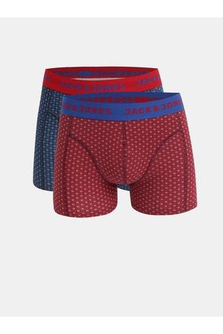 Set cadou de 2 boxeri rosu si albastru cu model Jack & Jones Holiday