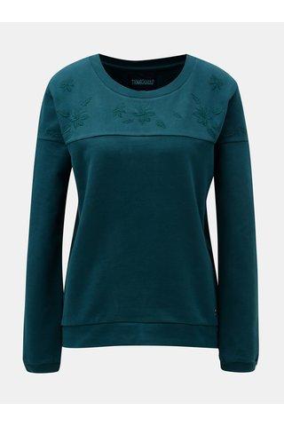 Bluza sport verde inchis cu broderie florala Tranquillo Hina