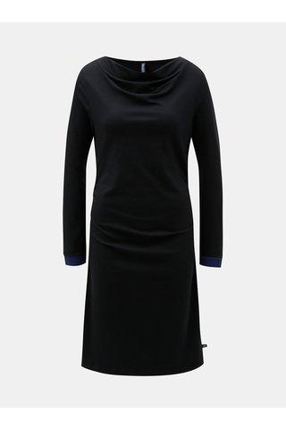 Rochie neagra cu pliuri la decolteu si laterale Tranquillo Durga