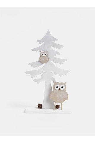 Bílá dřevěná dekorace ve tvaru stromu Dakls