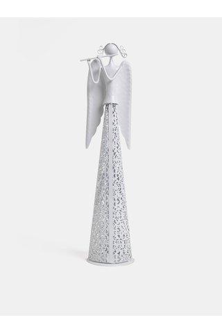 Bílý kovový velký anděl Dakls