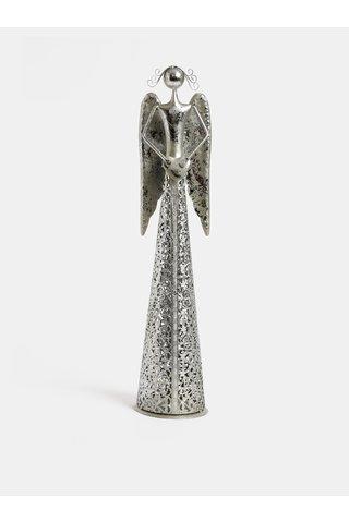 Kovový velký anděl ve stříbrné barvě Dakls