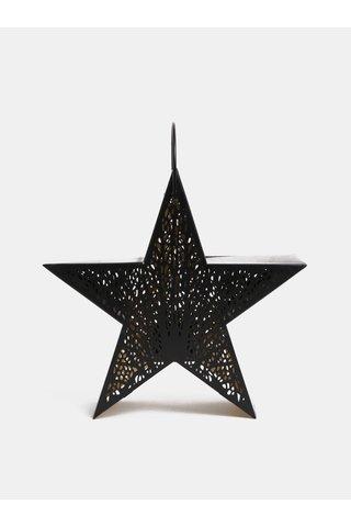 Lanterna neagra din metal in forma de stea Dakls