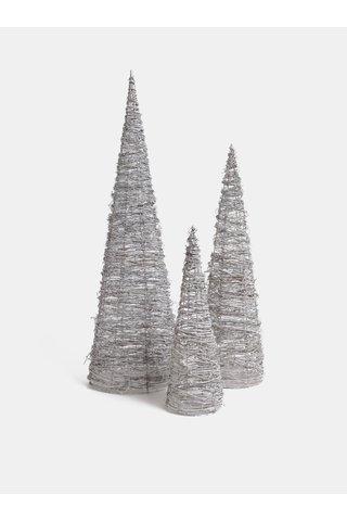 Bílá sada tří ratanových svítících stromů Dakls