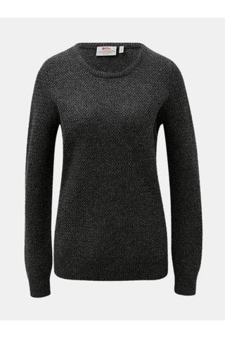 Tmavě šedý dámský žíhaný vlněný svetr Fjällräven Övik