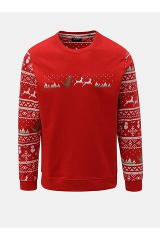 Bluza sport rosie lejera cu motiv de Craciun ONLY & SONS Rexmas