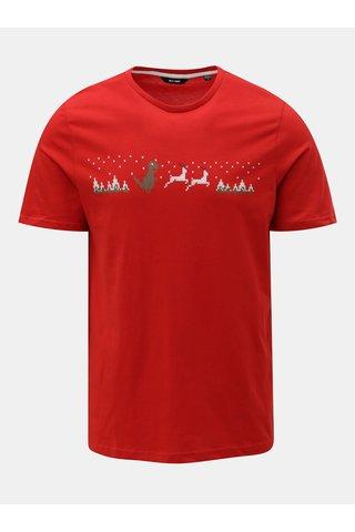 Tricou rosu cu motiv de Craciun ONLY & SONS Rexi